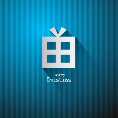 Vector Christmas Blue Background with Present Made from Paper  Vector