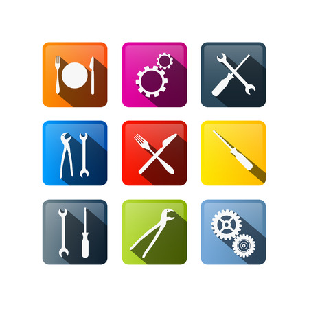 pincers: Vector Buttons: Cogs, Gears, Screwdriver, Pincers, Spanner, Hand Wrench Tools, Knife, Fork