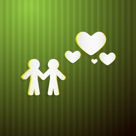 Vector Paper People and Hearts on Green Cardboard Vector