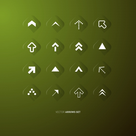 Transparent Vector Arrows Buttons Set on Green Background  Vector