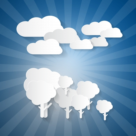 Trees, Clouds and Blue Sky Made from Paper Stock Vector - 24120151