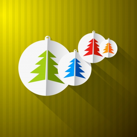 Christmas Paper Background with Colorful Trees and Balls Vector