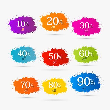 50 60: Las etiquetas de descuento de colores, manchas, salpicaduras. 10,20,30,40,50,60,70,80,90 por ciento de descuento.