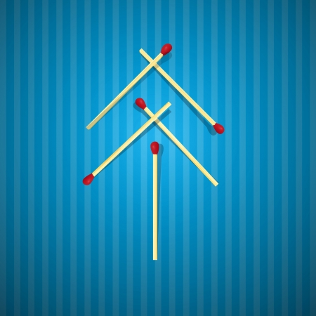 starr: Retro Christmas Tree Made From Matches on Blue Cardboard