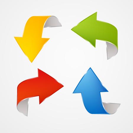 flecha direccion: Fondo rojo, azul, verde, amarillo, flechas Set