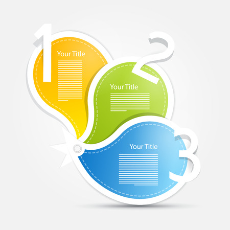 tutorial: Vector Progress Steps for Tutorial, Infographics. Blue, green, yellow, orange. Illustration