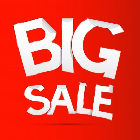 Vector Big Sale Sticker - Label on Red background  Illustration