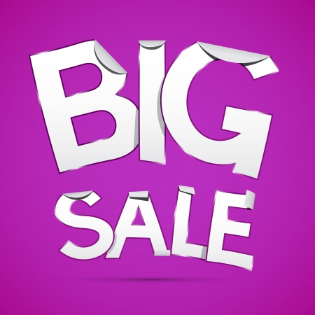 Vector Big Sale Sticker - Label on Violet Background Vector