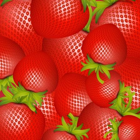 Vector Red Strawberries Background Vector