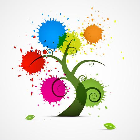 Árbol abstracto de vector con coloridos Blobs, salpicaduras