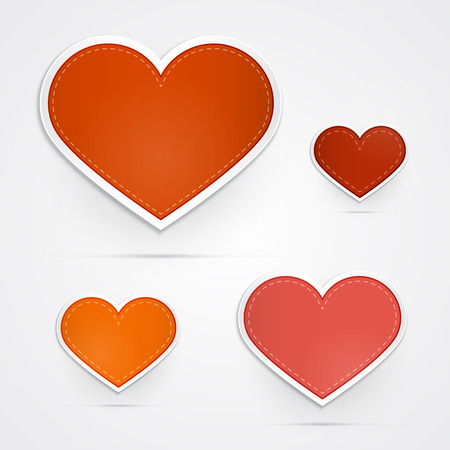 Vector Hearts Isolated on Grey Background  Vector