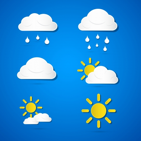 Vector Weather Icons - Clouds, Sun, Rain on Blue Background  Vector