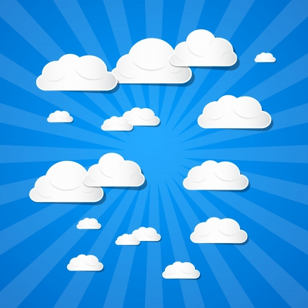 Vector Clouds on Blue Background  Vector