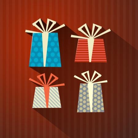 Retro Paper Gift, Present Boxes Vector