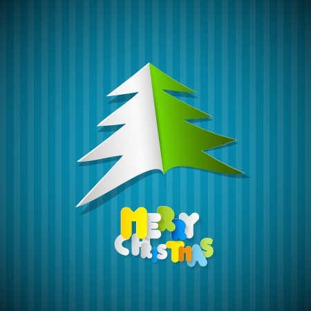 Retro Paper Vector Christmas Blue Background with Tree Vector