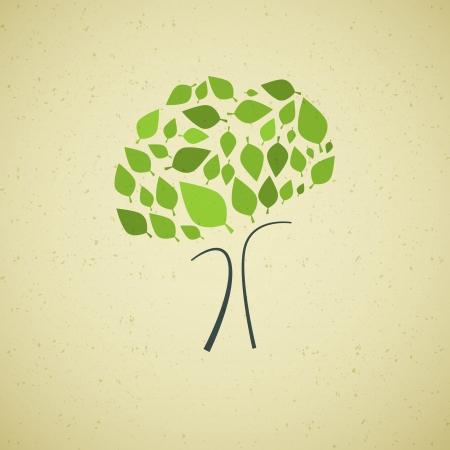 Resumen de vectores de árbol verde sobre fondo de papel reciclado