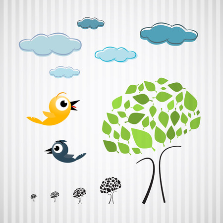 Paper Trees, Birds and Clouds on Cardboard Vector
