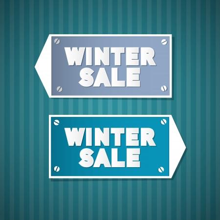Winter Sale Retro Signs Vector