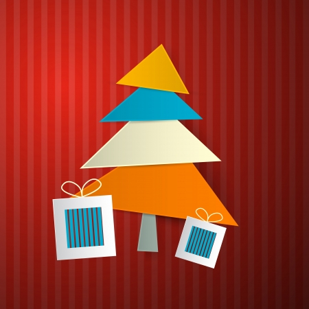 Christmas Retro Background with Tree Made from Sheets of Paper on Red Cardboard  Vector