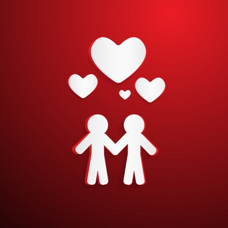 Two Paper People with Hearsts on Red Background Vector