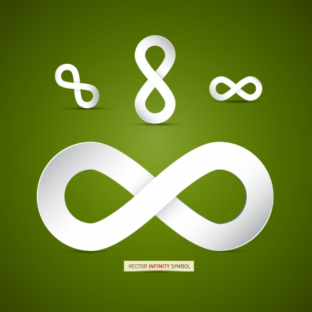 Vector Paper Infinity Symbol on Green Background
