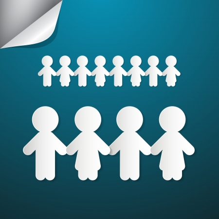 Paper People Holding Hands on Blue Background