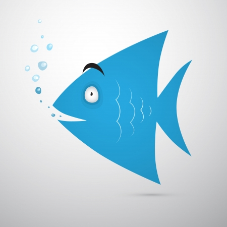 scalare: Blue Fish with Bubbles Isolated on Grey Background