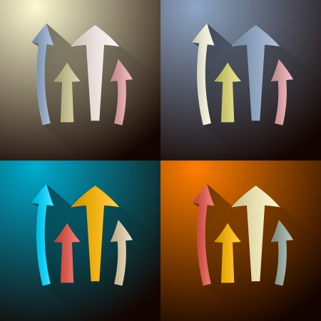 top pointer: Retro Vector Arrows Set on Four Different Dark Backgrounds