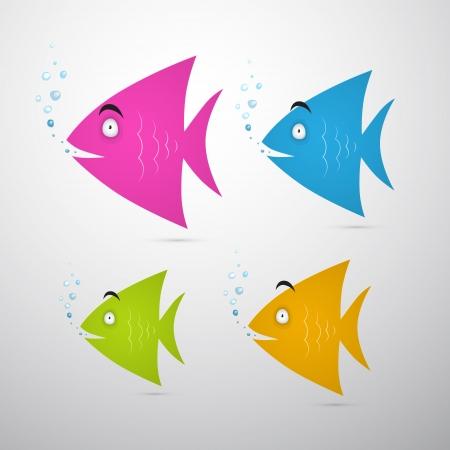 bunter fisch: Bunte Fische Set Illustration