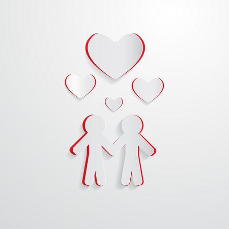 Two Paper People and Hearts Vector