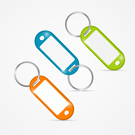 key fob: Vector Illustration of Orange, Green, Blue Key Tags, Rings