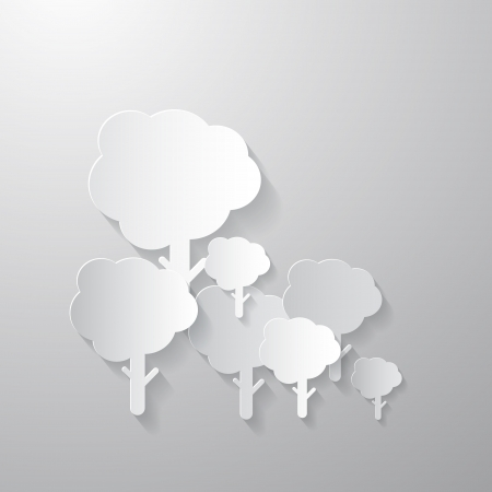 Trees Cut from Paper on Grey Background Vector