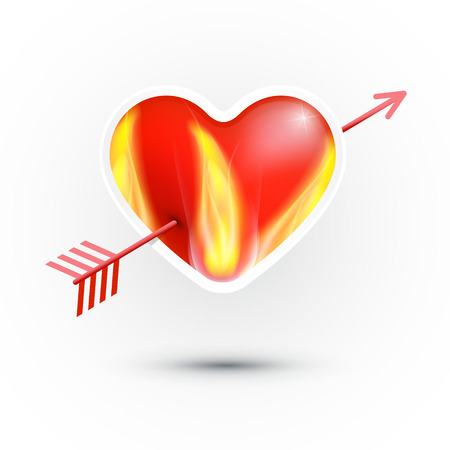 pierced:  Red Heart With Fire Pierced With an Arrow Isolated on White Background