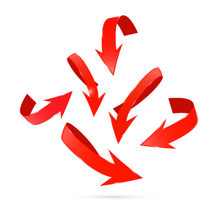 Red Abstract Arrows Set Ilustrace