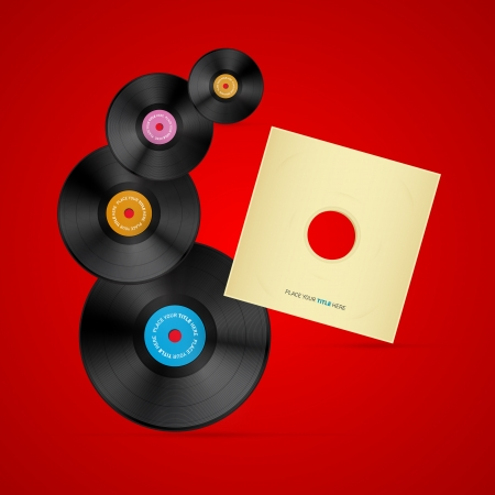 tracklist: Vector Vinyl Record Discs on Red Background Illustration