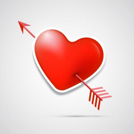 pierced: Vector 3d red heart pierced with an arrow Illustration
