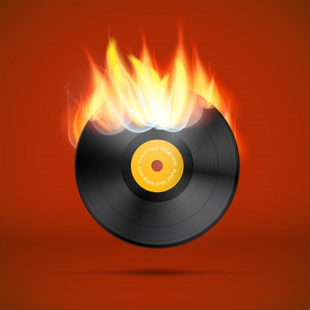 tracklist: Vector Vinyl Record Disc in Flames  Illustration