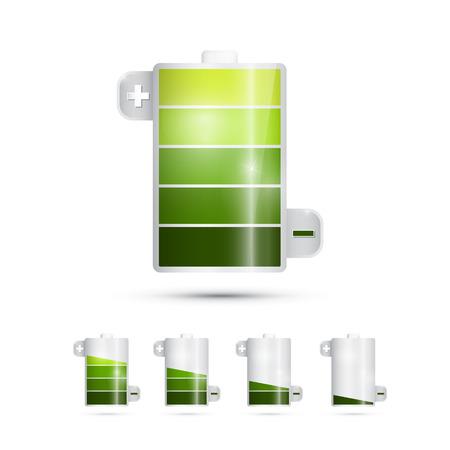 battery acid: Vector Battery Life Symbols Isolated on White Background  Illustration