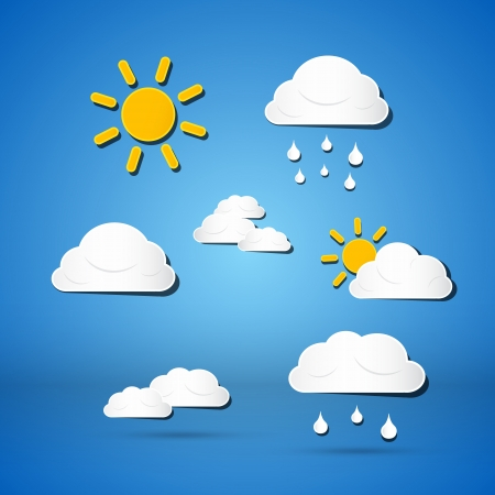Paper Vector Weather Icons - Clouds, Sun, Rain on Blue Background  Vector