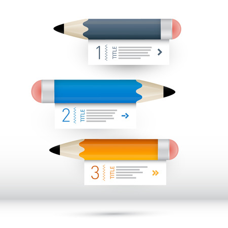 Vector Progress Steps for Tutorial, Infographics wit Pencils Vector