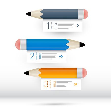 wit: Vector Progress Steps for Tutorial, Infographics wit Pencils