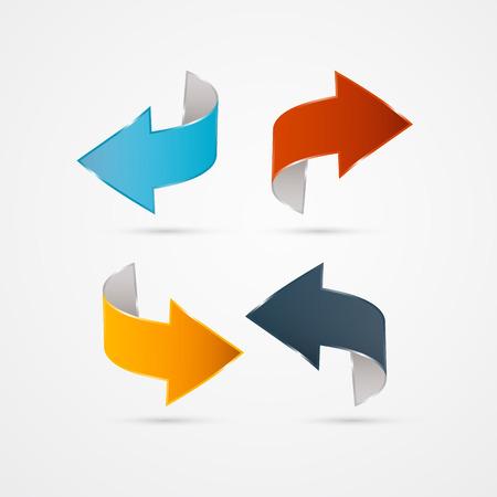 green arrow: Retro Abstract Arrows Set Illustration