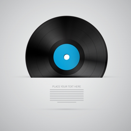 Vinyl Record Disc Isolated on Grey Vector