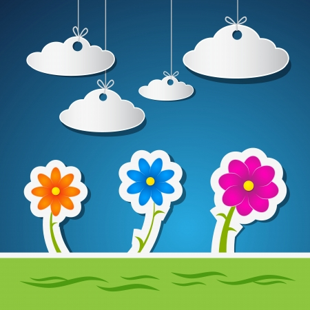 Flowers and Clouds Made From Paper With Blue Sky and Green Grass  Vector