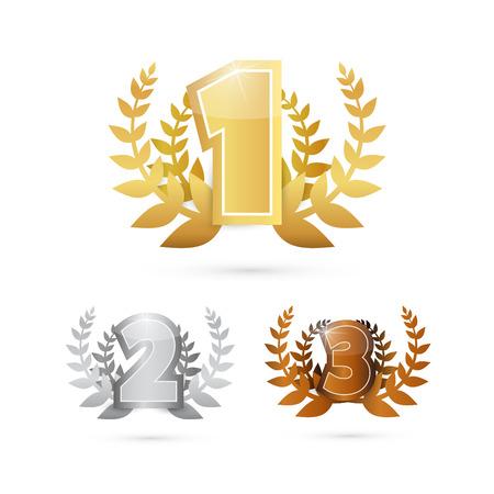 Oro, plata, bronce: conjunto de iconos de primer, segundo y tercer lugar