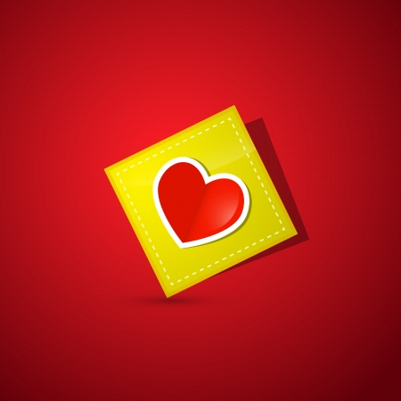 Heart on Yellow Paper on Dark Red Background  Vector