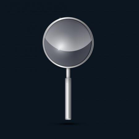 Magnifying Glass Isolated on Black Background Illustration