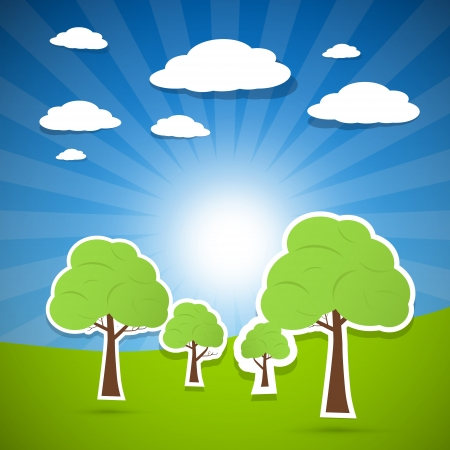 Abstract Paper Landscape, Country, Scenery with Trees, Clouds  Stock Vector - 24677182