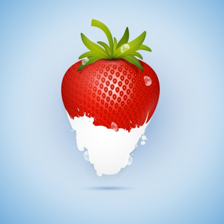dipped: Fresh Strawberry Dipped In Ice Cream, Milk Isolated on Blue Background