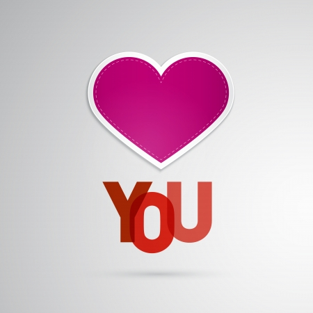 I Love You Theme, Pink Heart on Grey Background  Vector